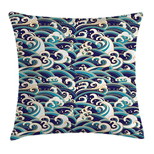 Ambesonne Nautical Throw Pillow Cushion Cover, Traditional Oriental Style Ocean Waves Pattern with Foam and Splashes Print, Decorative Square Accent Pillow Case, 28' X 28', Blue Gold