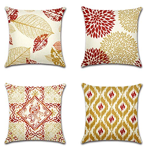 Artscope Geometric Leaves and Floral Cushion Covers, Set of 4 Decorative Throw Pillow Covers Cases for Sofa Couch Car Farmhouse Home Decor 45x45cm Burgundy