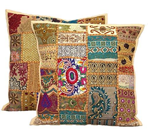2Pcs Indian Handmade Decorative Vintage Sequin Patchwork Embroidery Exclusive Floor Home Decor Pillow Case Cushion Cover 40cmx40cm (Beige)