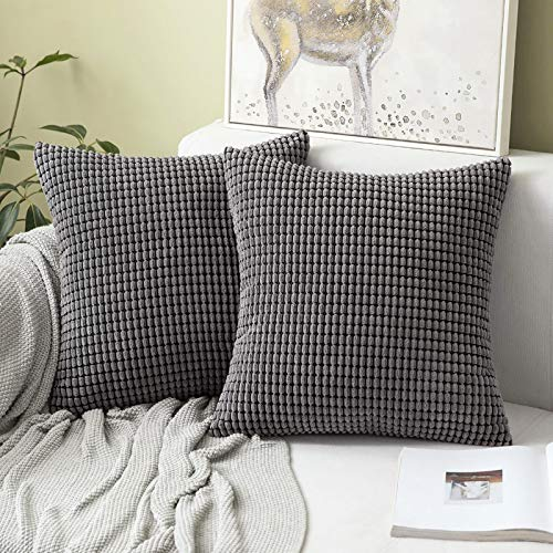 MIULEE Corduroy Throw Pillow Covers Soft Pellets Solid Decorative Square Cushion Case for Sofa Bedroom Grey 24'x24' 2 Pieces