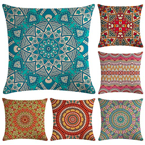 Hodeacc 6 Pcs Modern Mandala Pillow Cases,Bohemian Throw Pillow Covers Hippie Pillowcases for Sofa Couch Bed Chair,18 x 18 Inch,CASE ONLY