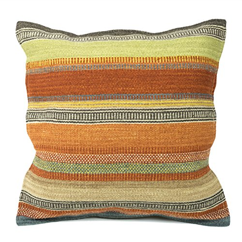 Indian Arts Ooty Stripe Kilim Cushion Cover Fair Trade using 80/20 wool/cotton and Natural Dyes (43 x 43cm)