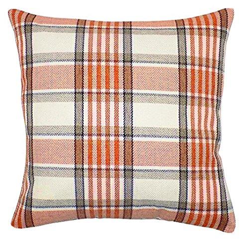 Red Rainbow Soft Tweed Orange, Brown & Cream Tartan Check Design 18' Square Sofa Cushion Cover