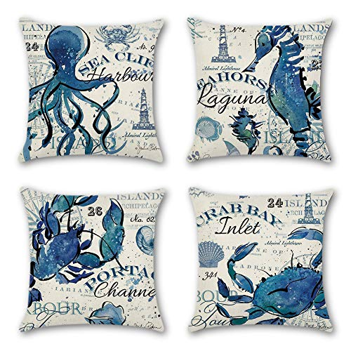 Artscope Set of 4 Decorative Soft Polyester Cushion Covers for Sofa Car 45 x 45 cm Square Throw Pillow Covers Pillowcases with Invisible Zipper (Ocean Animal B)