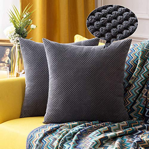 MIULEE Corduroy Cushion Cover Fabric Granule Throw Pillow Case Square Solid Home for Sofa Chair Couch Bedroom Decorative Pillowcases 22x22 inch 55x55cm 2 Pieces Grey