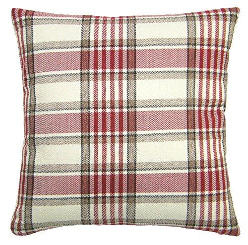 Red Rainbow Soft Tweed Red, Brown & Cream Tartan Check Design 17' Square Sofa Cushion Cover