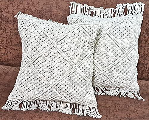 OMG-Deal 1pcs Bohemian Cushion Cover Macrame Cushion Cover Wedding Decor Throw Pillow Cover 18 x 18 inches -Cream Color Gift Set