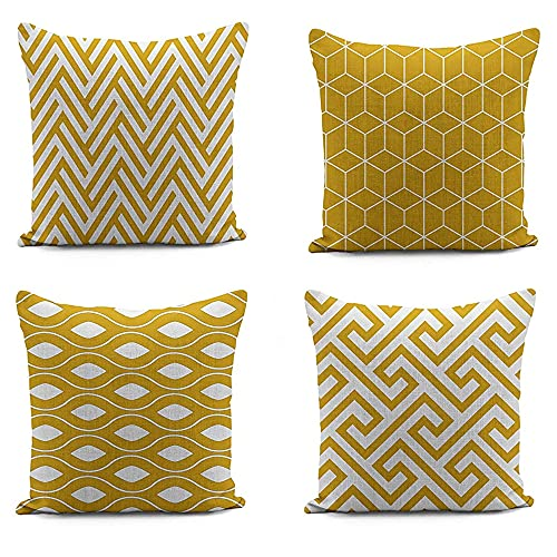 Adam Home Digital Cushion Covers with Invisible Zipper 20x20 Inch (50x50 cm) Decorative Throw Pillow Cases for Sofa, Bedroom, Couch, Office (Geo Mustard Pack of 4)