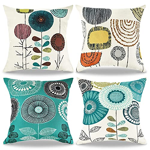 Allmarkhomes Cushion Cover Pillow Cases Floral Pack 4 Flower Cushion Abstract Cushion Covers Square Pillowcase Decorative Pillow Covers 45cm X 45cm