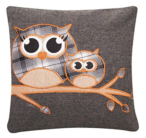 Tartan Cute Highland Owl Wool Blend Cushion Cover Charcoal Grey 17 inch