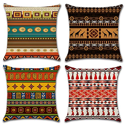 HuifengS Linen Throw Cushion Pillow Covers Square Pillowcase African Style Decorative for Sofas Beds Chairs Cushion Cover Set of 4, 18 x 18 Inch