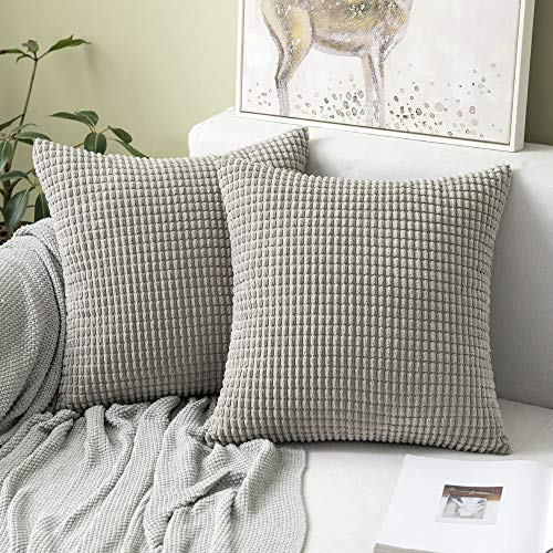MIULEE Set of 2 Comfortable Soft Big Corn Corduroy Cushion Cover Case Pillowcases Decorative Square Throw Pillow Case Protectors for Home Decorating Bedroom Living Room 18x18 Inches Light Grey
