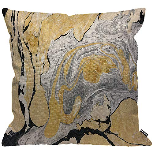 HGOD DESIGNS Cushion Cover Black Golden and Silver Marble Ink Abstract Painting,Throw Pillow Case Home Decorative for Men/Women Living Room Bedroom Sofa Chair 18X18 Inch Pillowcase 45X45cm