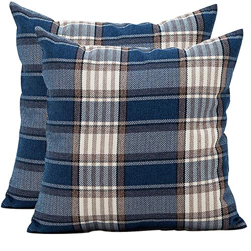 JOTOM Plaids Tartan Linen Pillow Cover,Cushion Covers for Home Sofa Car Decorative 45 x 45cm,Set of 2 (Lattice,Blue Brown)