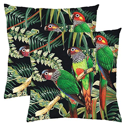 nuoshen Parrot Cushion Cover,2Packs Tropical Bird Style Pillow Sofa Cushions Throw Pillow Cover Car Square Pillowcase for Men/Women Living Room Bedroom Sofa Chair 18X18 Inch Pillowcase 45X45cm