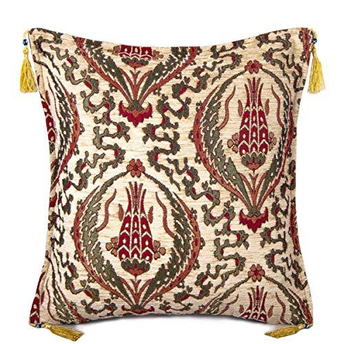 Bahar Oya Çiçeklerden İlhamla... Tulip Patterned Cushion Cover With Tassel Cream No: 0256   Pillow Covers 45x45 cm (18'x18')   Double Sided   Turkish Kilim Art