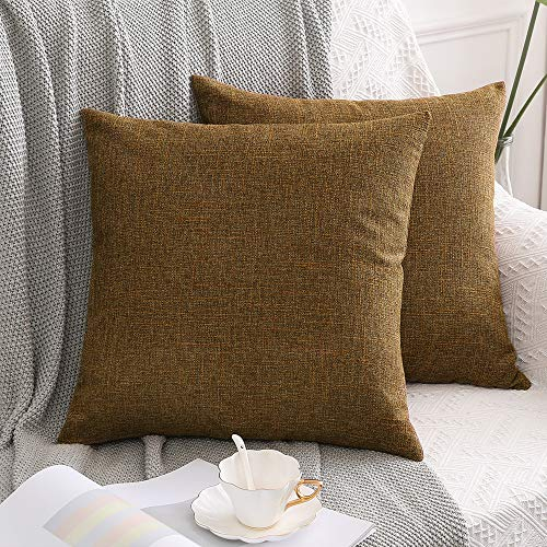 MIULEE Set of 2 Cross Shape Faux Linen Square Throw Pillow Case Cushion Cover Home for Sofa Chair Couch/Bedroom Decorative Pillowcase 22 x 22 Inch 55 x 55cm Tan