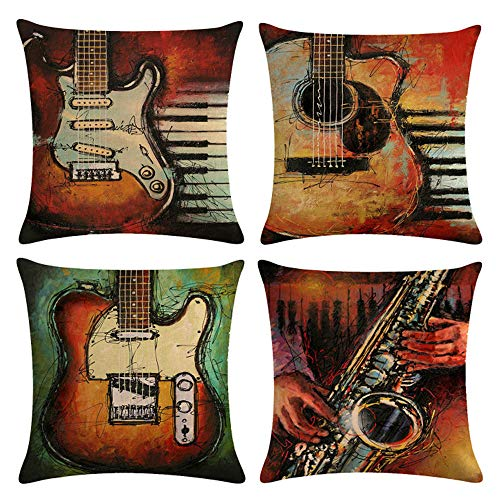 mefound Cushion Covers Set 45cm x 45cm, Vintage guitar Pattern Cotton Throw Pillow Case Sofa Beds Chairs 18x18 Inch