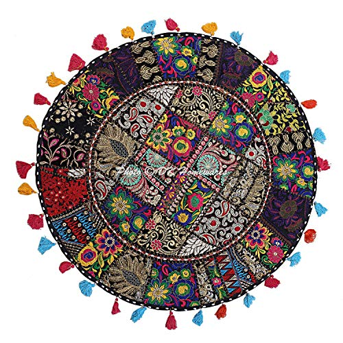DK Homewares Ethnic Indian Patchwork Black Floor Cushion Cover For Baby 32 X 32 Inches Living Room Decorative Vintage Cotton Embroidered 80 Cm
