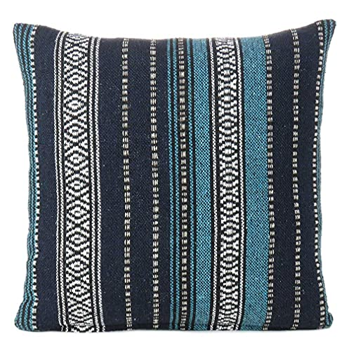 Eyes of India - Navy Blue Black Striped Dhurrie Decorative Pillow, Denim Boho Cushion Cover, Sky Turquoise Bohemian Indian Throw for Sofa Couch, 16X16 Inch, 40X40 cm COVER ONLY