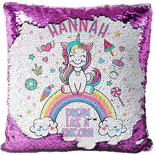 KRAFTYGIFTS Personalised CUTE UNICORN Magic Reveal Sequin Cushion Cover Case Girls MC014 (PINK)