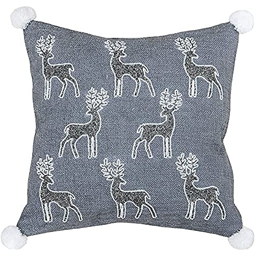 Riva Paoletti White Christmas Reindeer Cushion Cover - Grey and White - Sequined Reindeer Design - Metallic Woven Fabric - Pompom Corners - 100% Cotton - 50 x 50cm (20' x 20' inches)