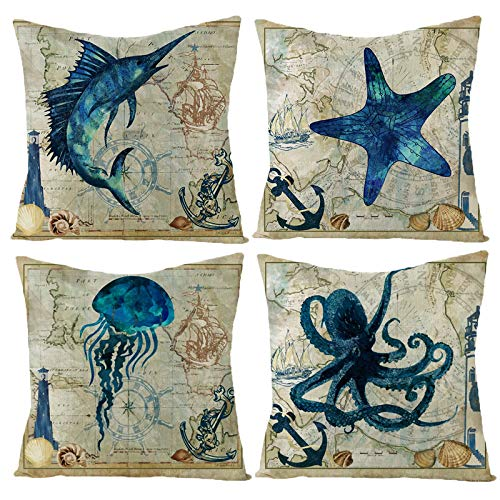 HOSTECCO Vintage Ocean Animal Throw Pillow Covers Set of 4 Blue Fish Marlin Starfish Jellyfish Octopus Cushion Covers Decorative Pillow Cases 45x45 cm