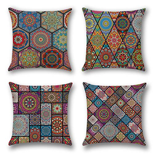 Artscope 4 Pack Home Decorative Cushion Covers, 18 x 18 Inch Square Pillowcases Polyester Linen Throw Pillow Covers for Sofa Car, 45 x 45 cm (Multicolor Mandala)