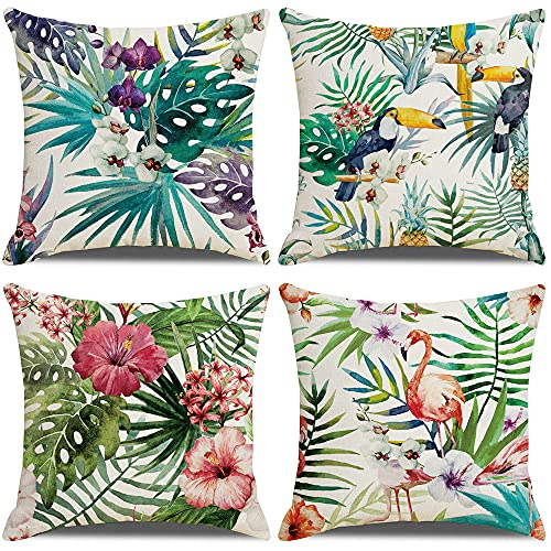 LAXEUYO Tropical Cushion Covers, Pack of 4 Flamingo Leaf Pattern Cotton Linen Decorative Throw Pillow Covers Pillow Cases for Sofa 18x18 inches
