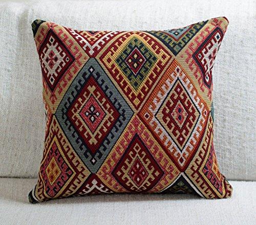 Traditional Turkish Kilim Style Cushion Cover. 17' x 17' Square Cover. Heavyweight Woven Kilim Fabric Diamond Pattern.