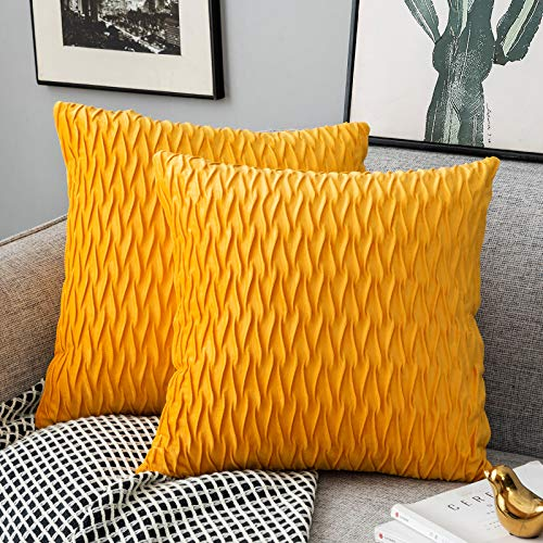 Yamonic Pack of 2 Cushion Cover Super Soft Velvet Pillow Covers Square Decorative Pillowcase for Sofa Bed Couch Bench, 18 x 18 inch, Yellow