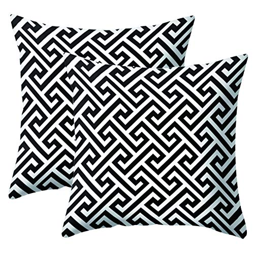 JOTOM Simple Geometric Super Soft Pillow Case Covers for Couch Sofa Bed Pillowcase Cushion Covers Home Decorative 45X45cm,Set of 2 (Black and White Pattern 4)