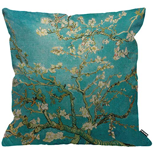 HGOD DESIGNS Cushion Cover Van Gogh Classic Arts Painting Almond Blossom Tree Throw Pillow Cover Home Decorative for Men/Women/Boys/Girls Living Room Bedroom Sofa Chair 18X18 Inch Pillowcase