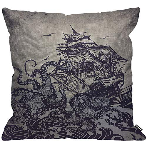 HGOD DESIGNS Cushion Cover Kraken Sail Boat Waves And Octopus Old Look Home Textile European Style Throw Pillow Cover Home Decorative for Men/Women/Boy/Girls living room Bedroom Sofa Chair 18X18 Inch