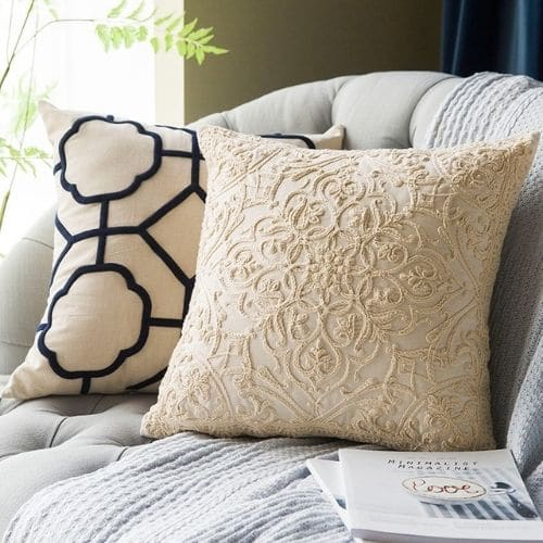two luxury cushion covers on the sofa