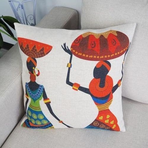 one white african cushion covers
