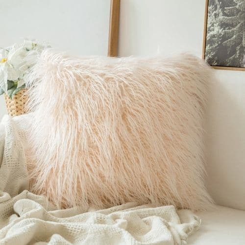 one pink faux fur cushion cover