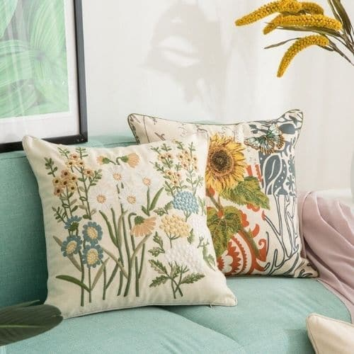 two floral cushion covers