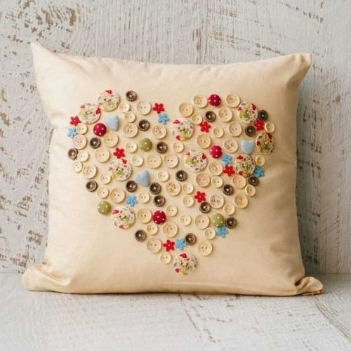 cushion cover handmade with a heart