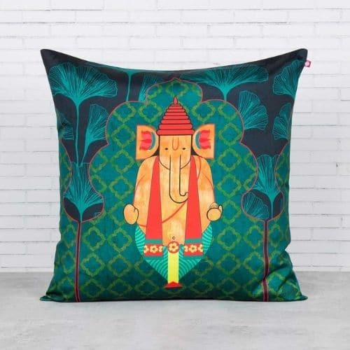 one green indian cushion covers