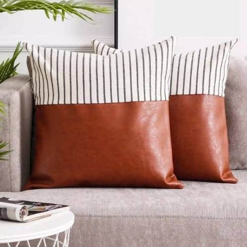 two leather cushion covers on the sofa