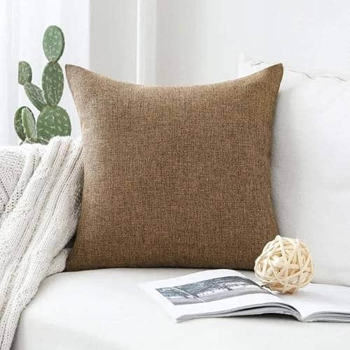 one linen cushion cover brown color