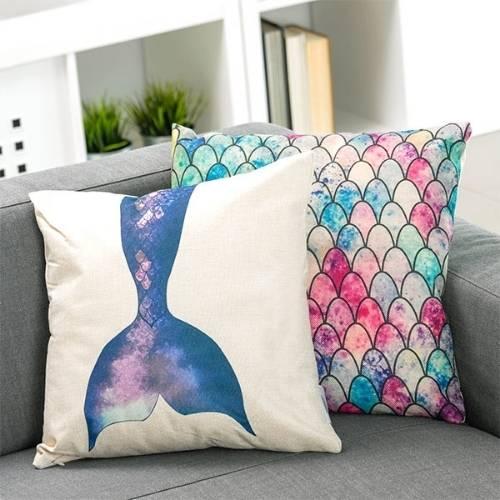 two mermaid cushion covers on the sofa