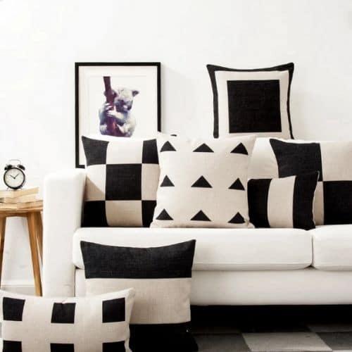 six monochrome cushion covers