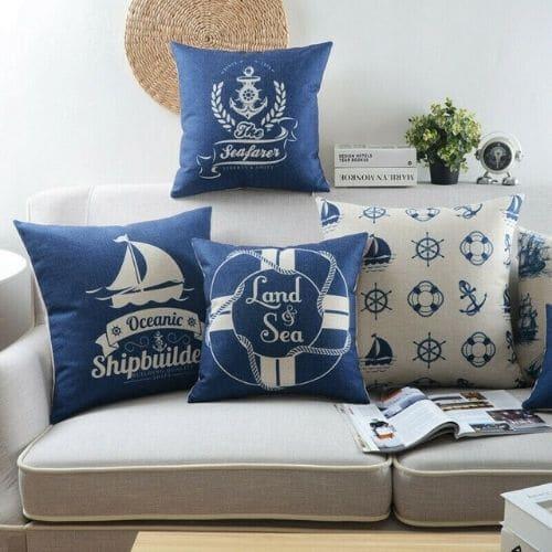 four blue nautical cushion covers