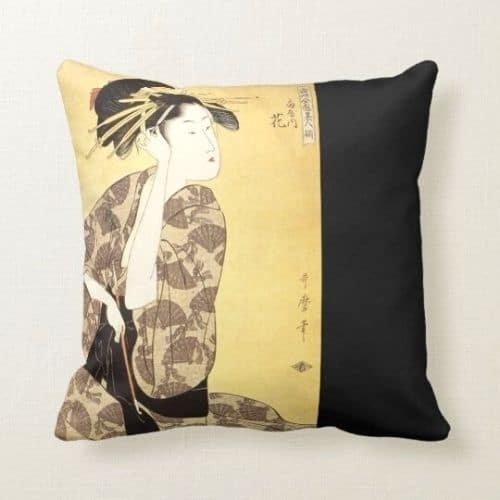 one yellow oriental cushion covers