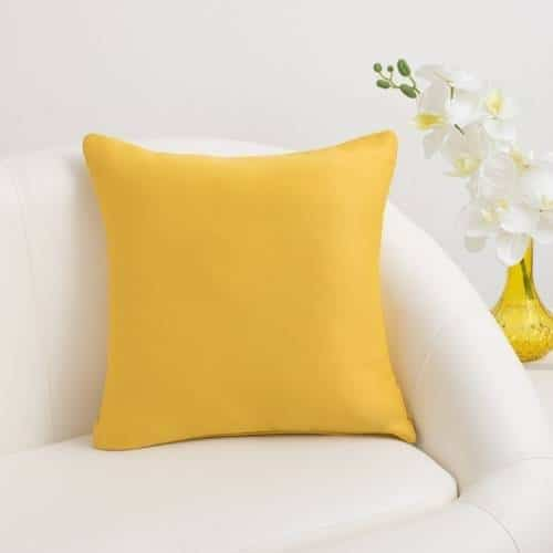 one yellow polyester cushion cover