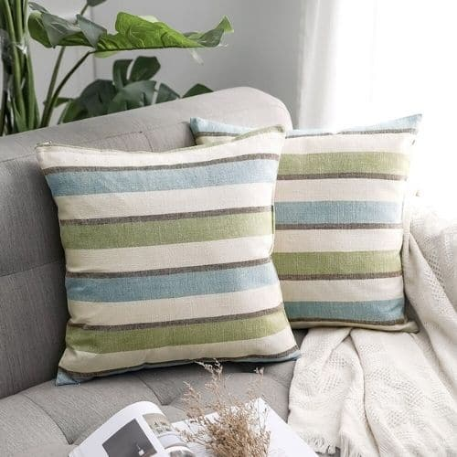 two striped cushion covers