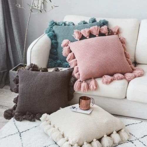 four tassel cushion covers