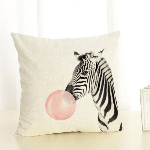 one zebra cushion cover with white background